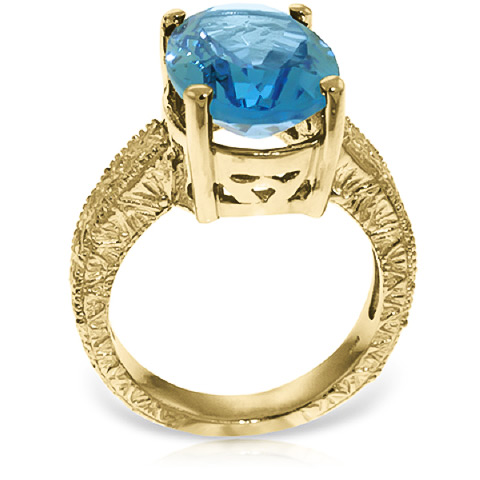 Oval Cut Blue Topaz Ring 8.0ctw in 14K Gold