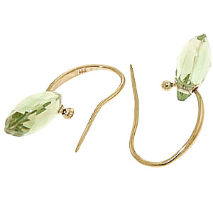 Green Amethyst Droplet Briolette Earrings 8.0ctw in 14K Gold