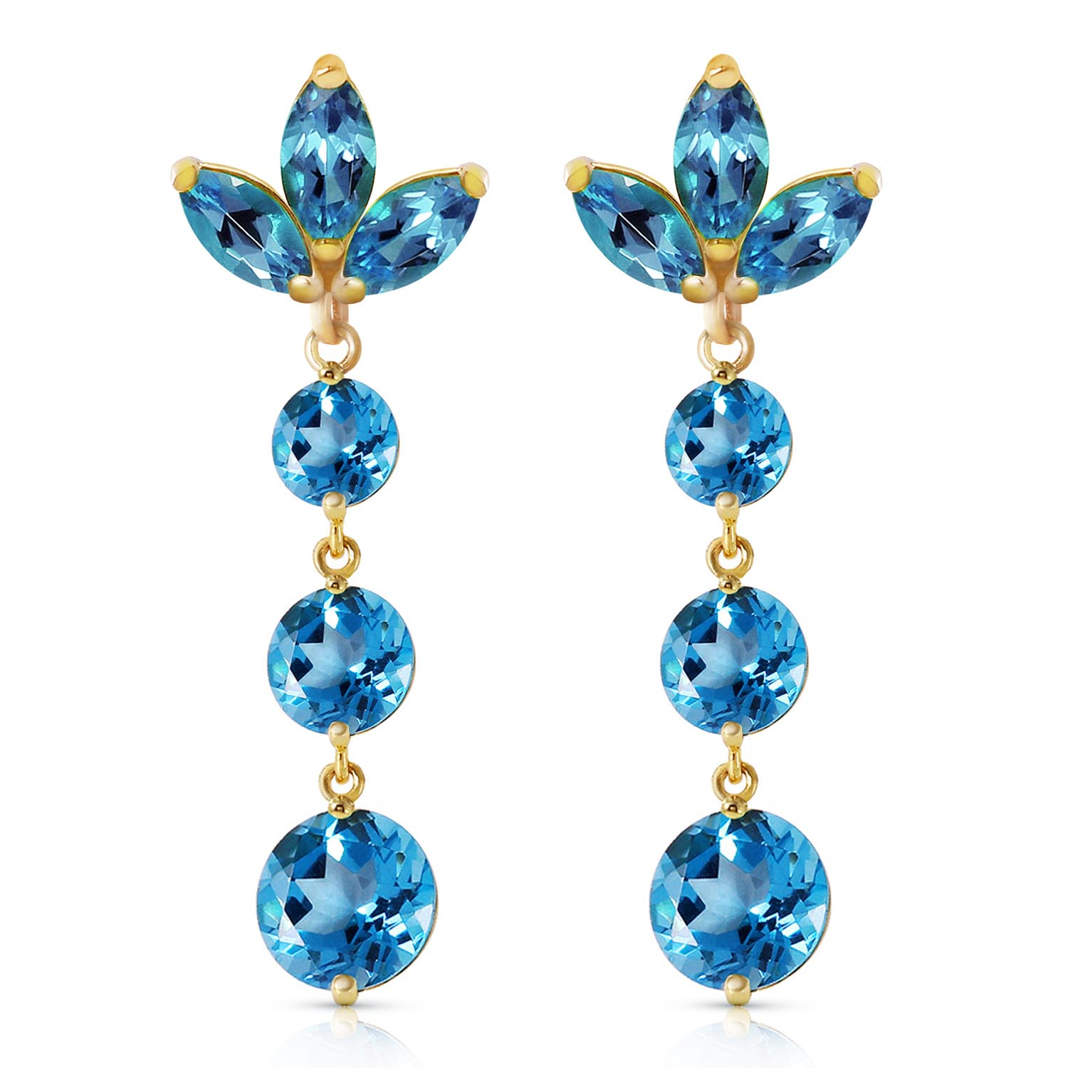Blue Topaz Petal Drop Earrings 8.7ctw in 9ct Gold