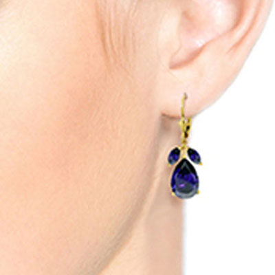 Sapphire Drop Earrings 9.3ctw in 14K Gold
