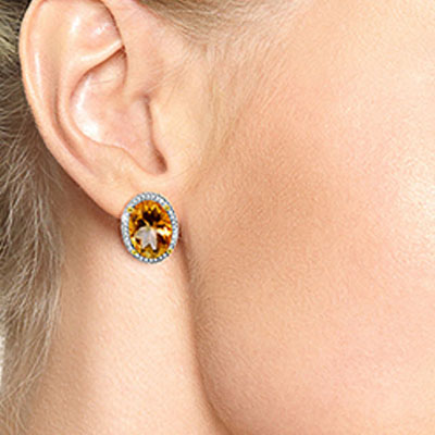 Citrine and Diamond French Clip Halo Earrings 9.4ctw in 9ct Gold