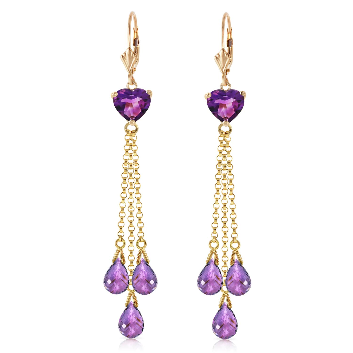Amethyst Vestige Heart Drop Earrings 9.5ctw in 9ct Gold