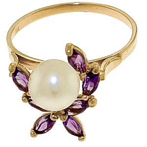 Pearl and Amethyst Ivy Ring 2.65ctw in 9ct Gold
