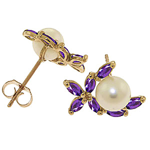 Pearl and Amethyst Ivy Stud Earrings 3.25ctw in 9ct Gold