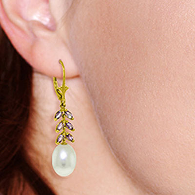 Pearl and Amethyst Drop Earrings 9.2ctw in 9ct Gold