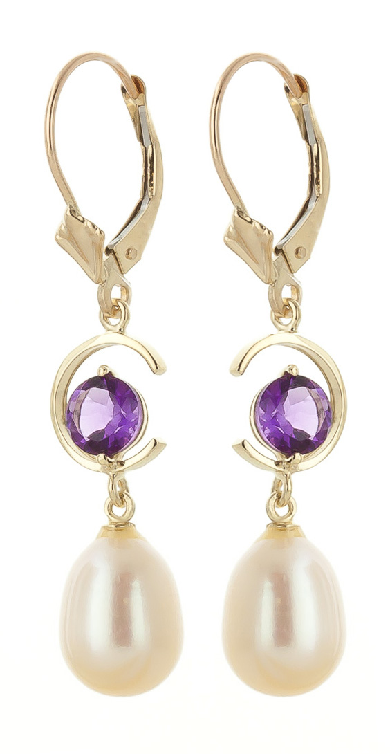 Pearl and Amethyst Drop Earrings 9.0ctw in 9ct Gold