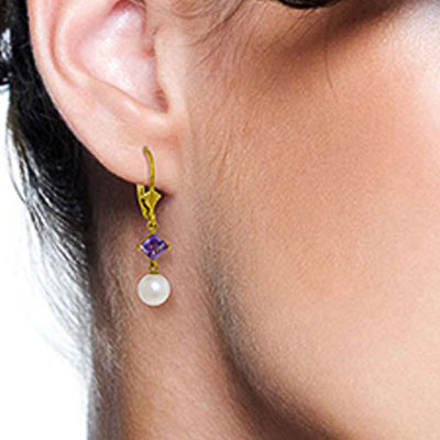 Pearl and Amethyst Drop Earrings 5.0ctw in 14K Gold