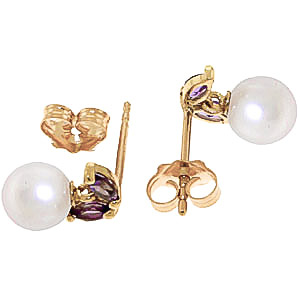 Pearl and Amethyst Snowdrop Stud Earrings 4.4ctw in 14K Gold