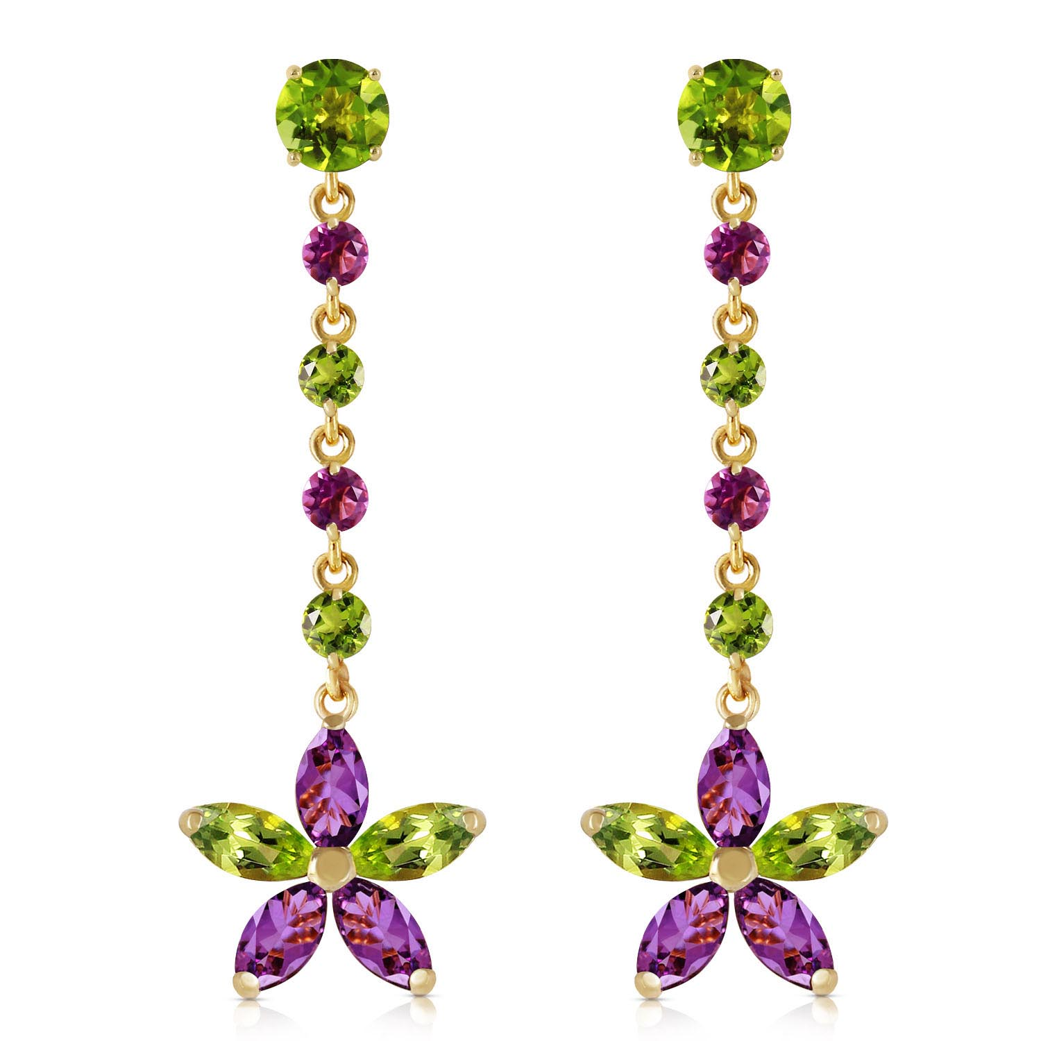 Peridot and Amethyst Daisy Chain Drop Earrings 4.8ctw in 9ct Gold