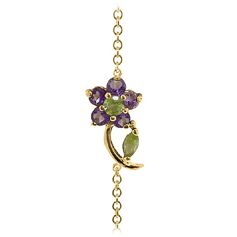 Peridot and Amethyst Adjustable Flower Petal Bracelet 0.87ctw in 9ct Gold