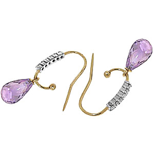 Diamond and Amethyst Stem Droplet Earrings in 9ct Gold