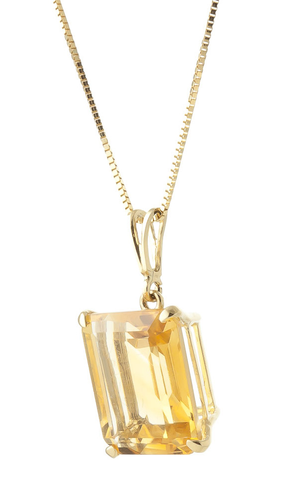 Citrine Pendant Necklace 6.5ct in 9ct Gold