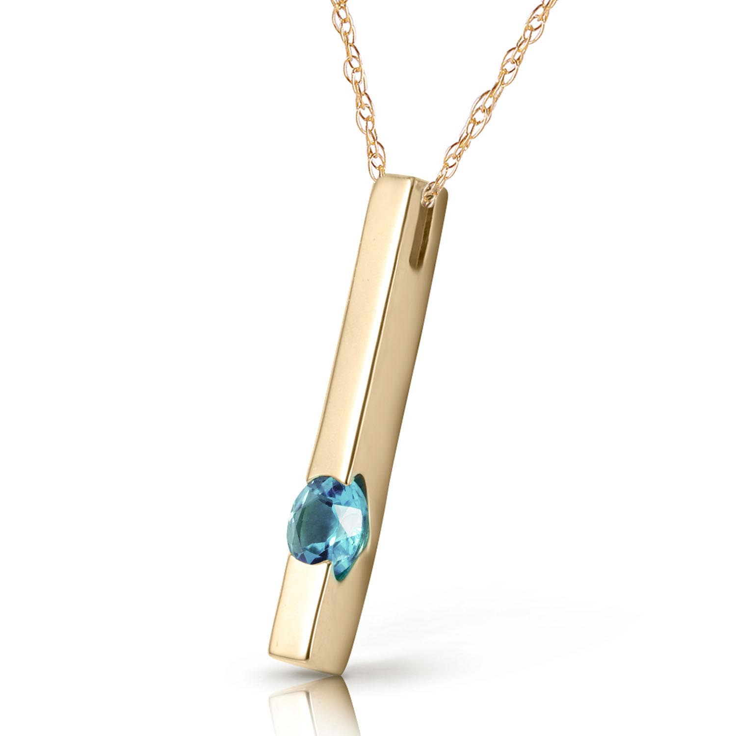Blue Topaz Bar Drop Pendant Necklace 0.25ct in 9ct Gold