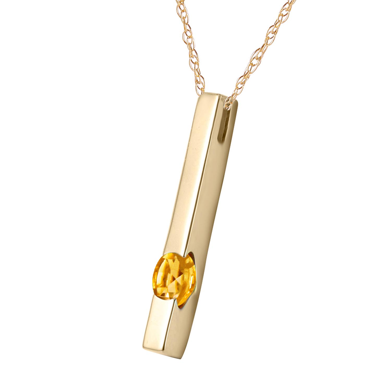 Citrine Bar Drop Pendant Necklace 0.25ct in 9ct Gold