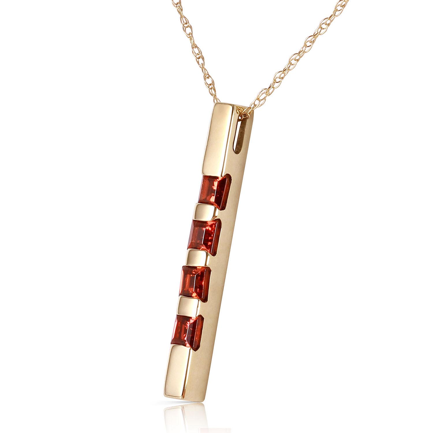 Garnet Bar Pendant Necklace 0.35ctw in 9ct Gold