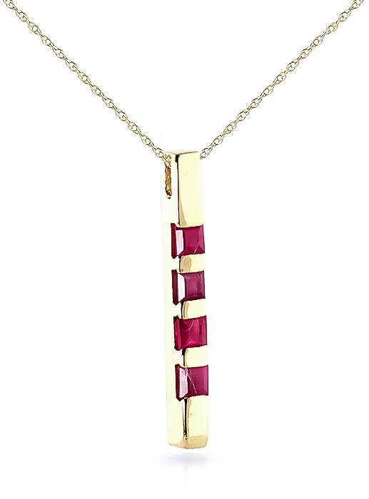 Ruby Bar Pendant Necklace 0.35ctw in 9ct Gold