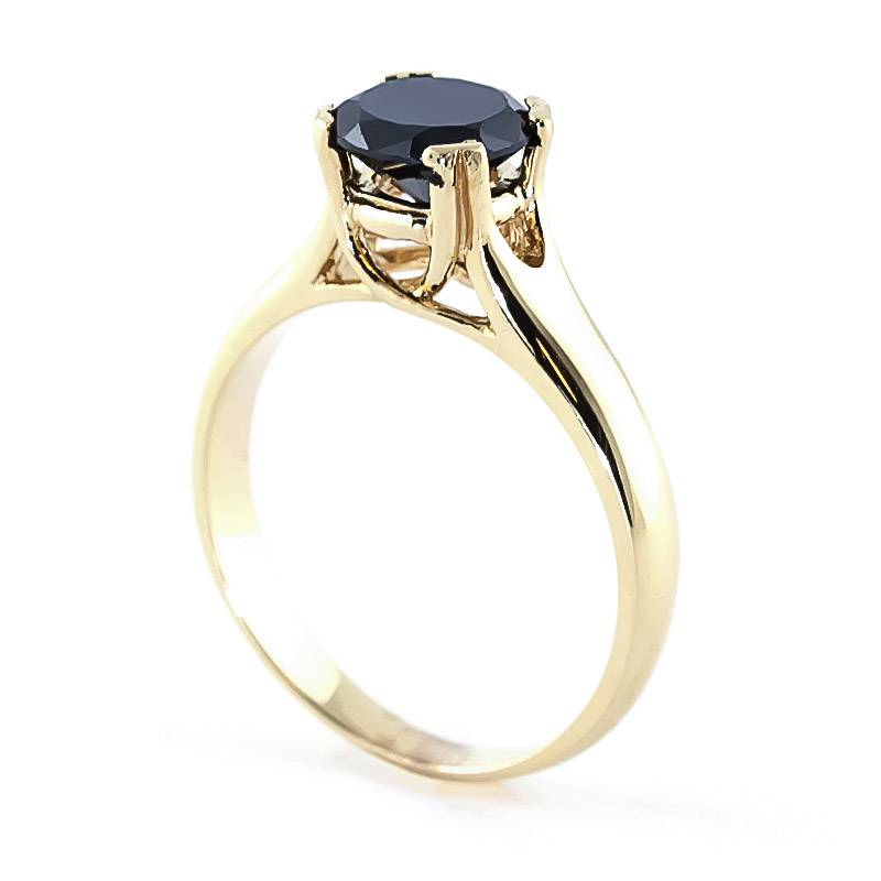 Black Diamond Solitaire Ring in 9ct Gold