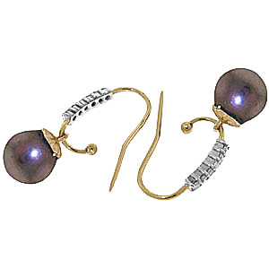 Diamond and Black Pearl Drop Earrings in 9ct Gold