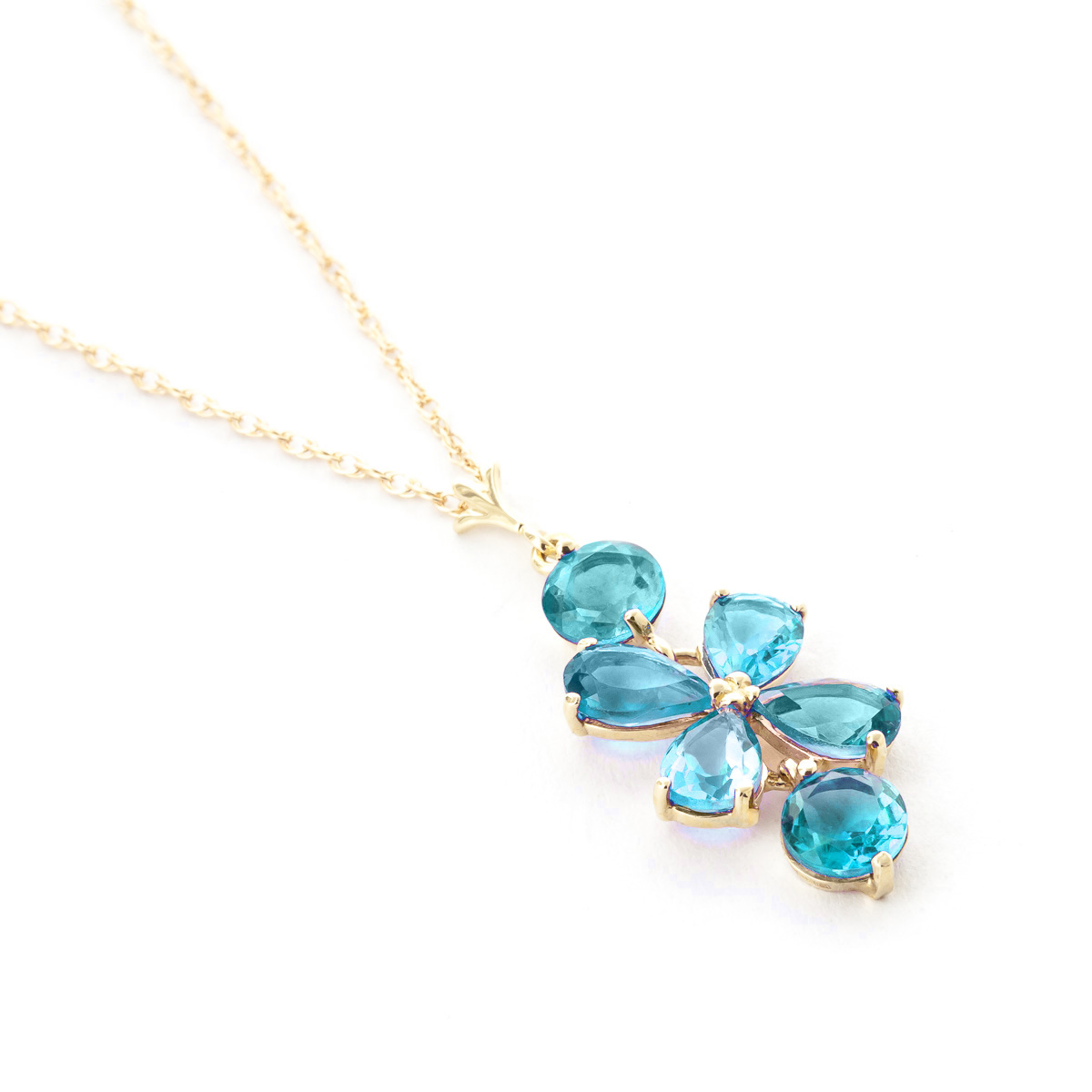 Blue Topaz Blossom Pendant Necklace 3.15ctw in 9ct Gold