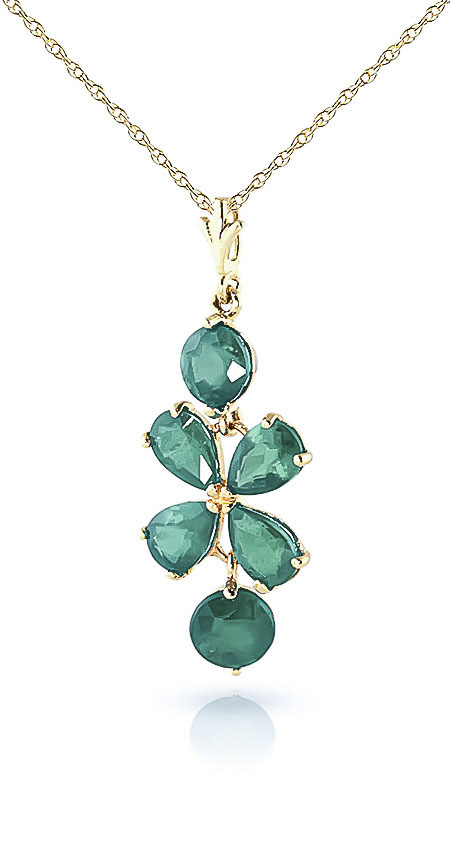 Emerald Blossom Pendant Necklace 3.15ctw in 14K Gold