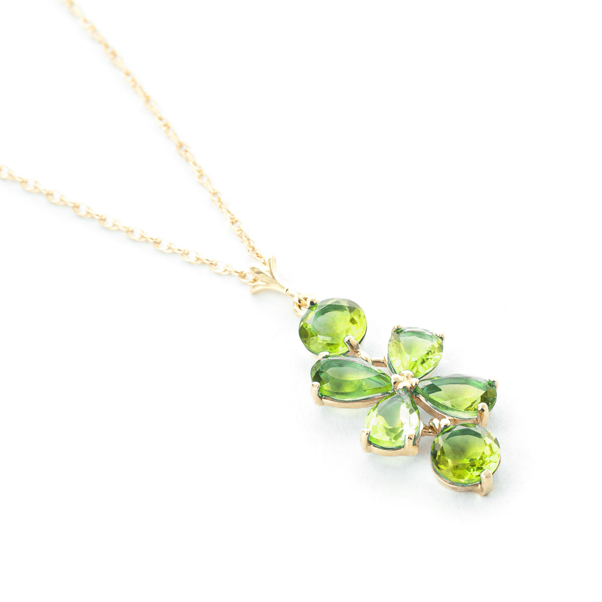 Peridot Blossom Pendant Necklace 3.15ctw in 9ct Gold