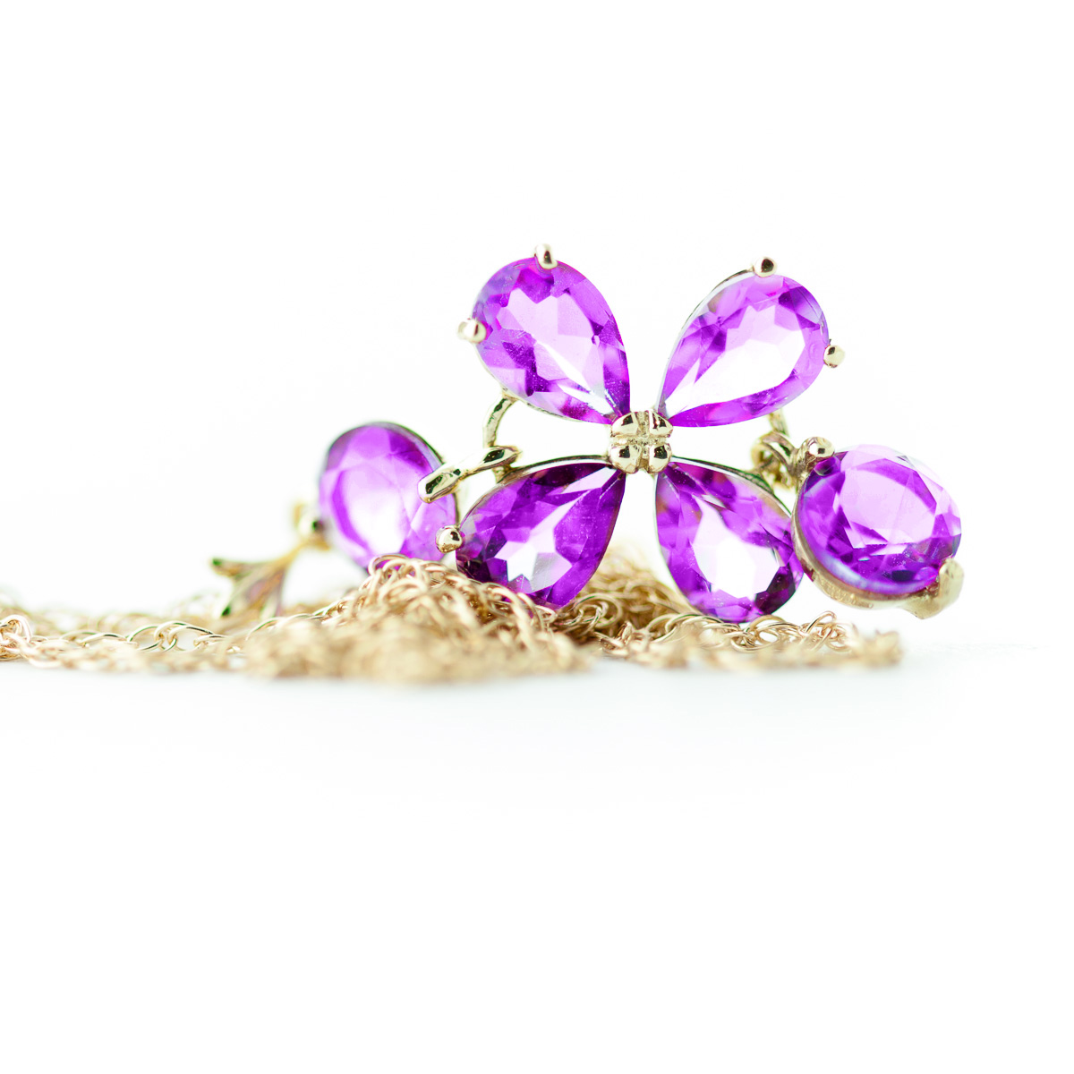Pink Topaz Blossom Pendant Necklace 3.15ctw in 14K Gold