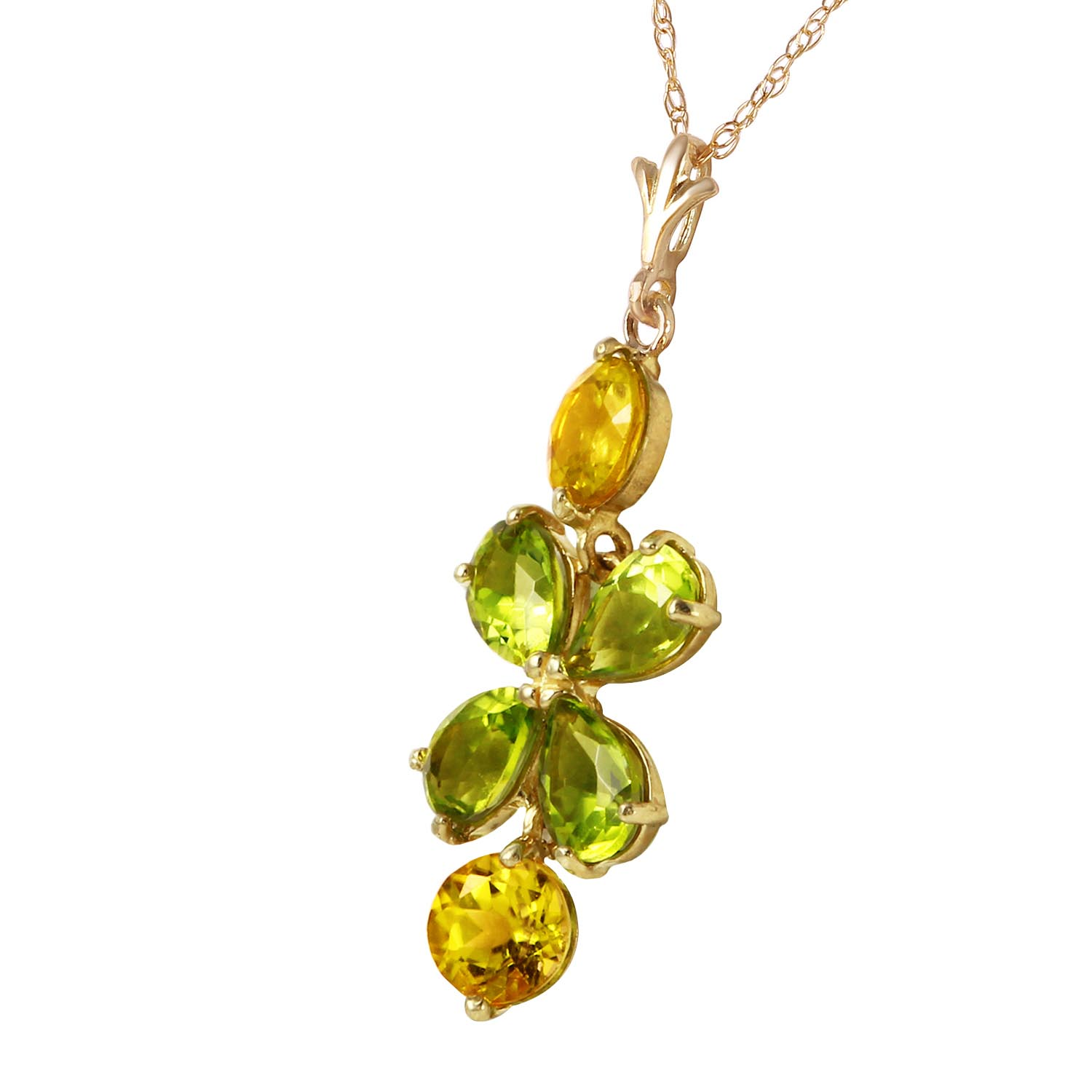 Peridot and Citrine Blossom Pendant Necklace 3.15ctw in 9ct Gold