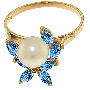 Pearl and Blue Topaz Ivy Ring 2.65ctw in 9ct Gold