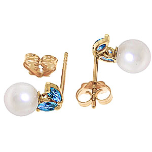 Pearl and Blue Topaz Snowdrop Stud Earrings 4.4ctw in 9ct Gold