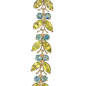 Peridot and Blue Topaz Butterfly Bracelet 16.5ctw in 9ct Gold