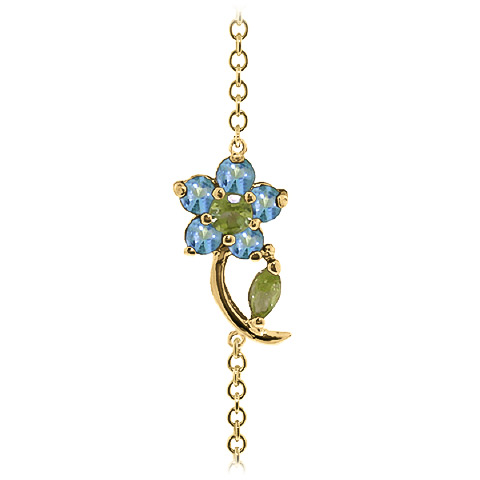 Peridot and Blue Topaz Adjustable Flower Petal Bracelet 0.87ctw in 9ct Gold