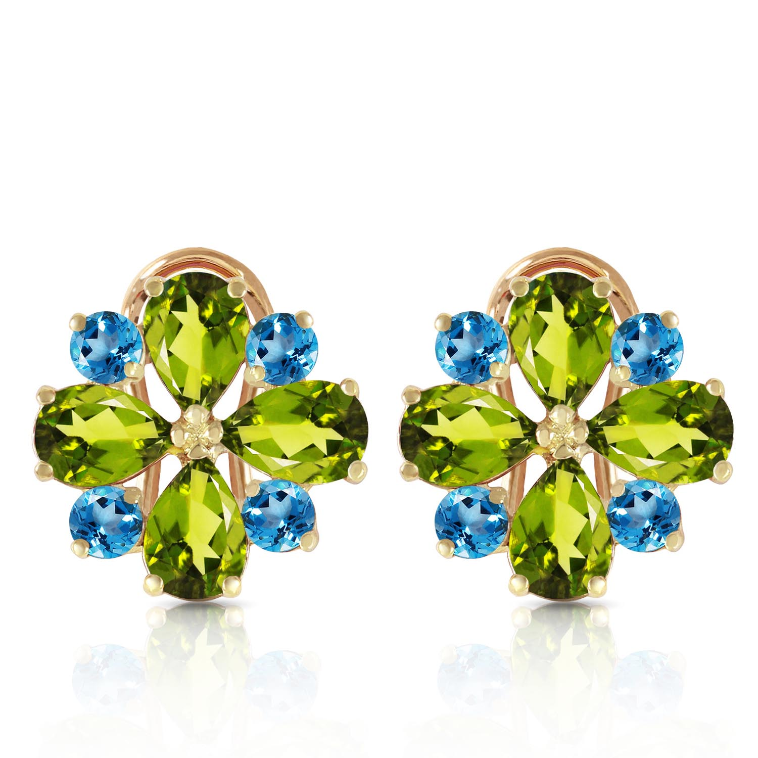 Peridot and Blue Topaz Sunflower Stud French Clip Earrings 4.85ctw in 9ct Gold
