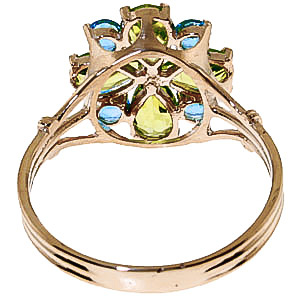 Peridot and Blue Topaz Sunflower Cluster Ring 2.43ctw in 9ct Gold