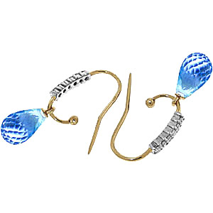 Diamond and Blue Topaz Stem Droplet Earrings in 9ct Gold