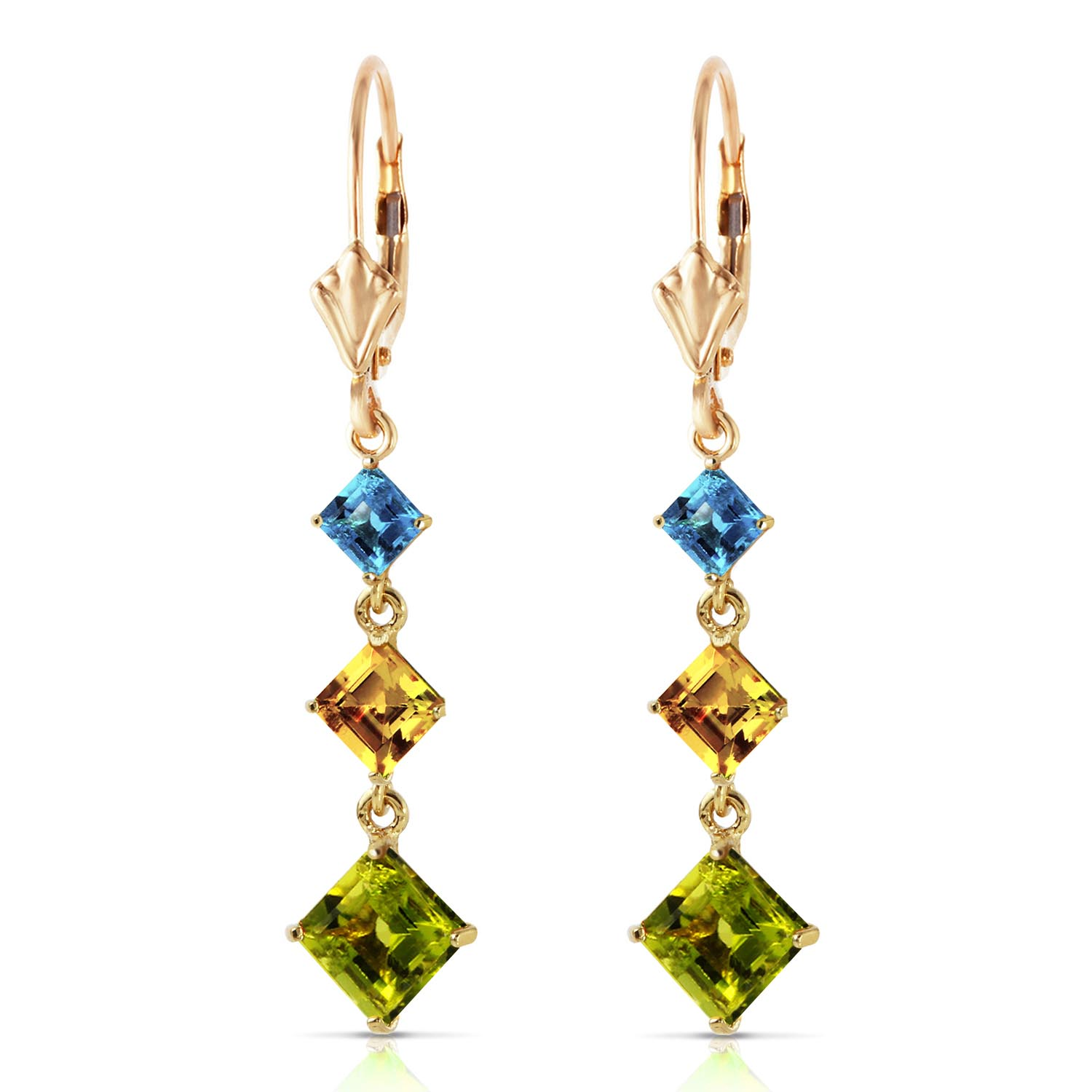 Peridot, Blue Topaz and Citrine Three Stone Drop Earrings 4.8ctw in 14K Gold