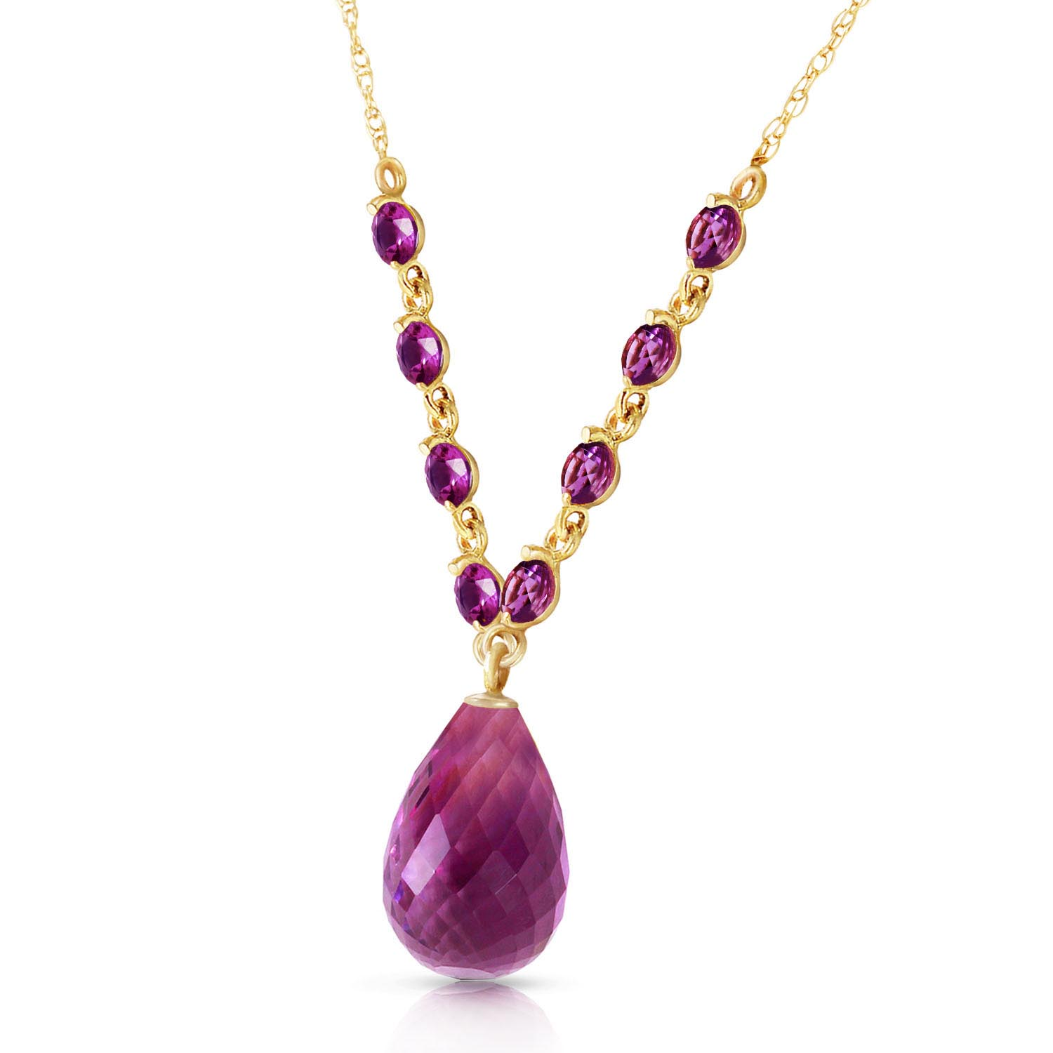 Amethyst Briolette Pendant Necklace 11.5ctw in 9ct Gold