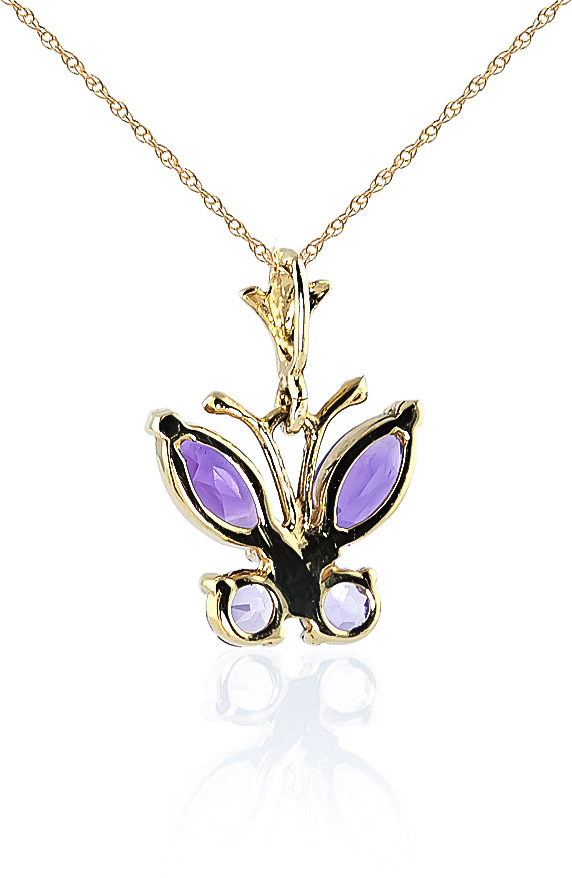 Amethyst Butterfly Pendant Necklace 0.6ctw in 9ct Gold