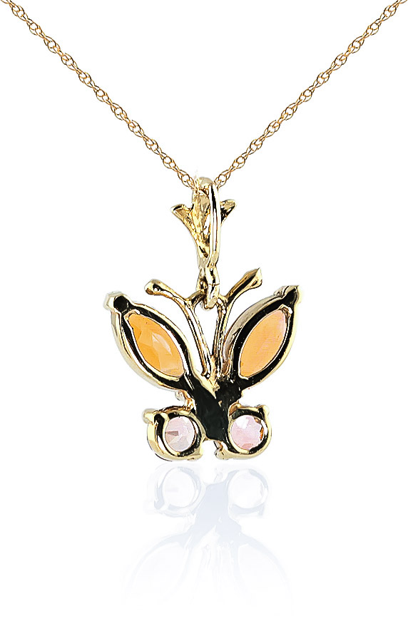 Citrine Butterfly Pendant Necklace 0.6ctw in 9ct Gold