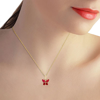 Ruby Butterfly Pendant Necklace 0.6ctw in 14K Gold