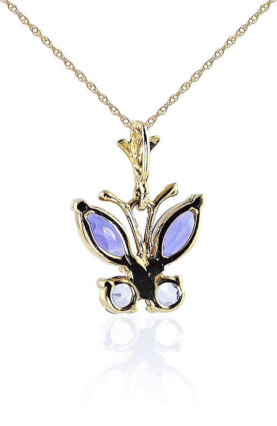 Tanzanite Butterfly Pendant Necklace 0.6ctw in 9ct Gold