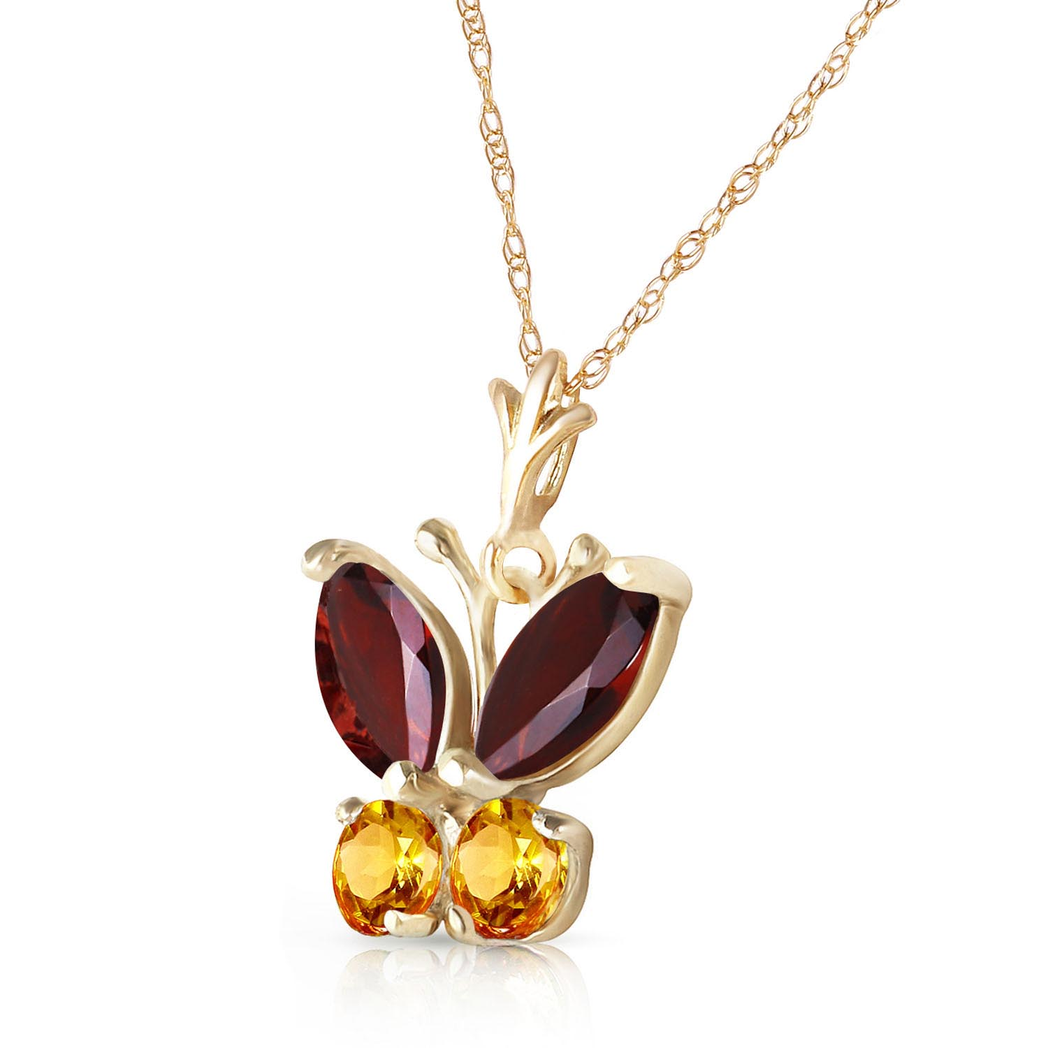 Garnet and Citrine Butterfly Pendant Necklace 0.6ctw in 14K Gold
