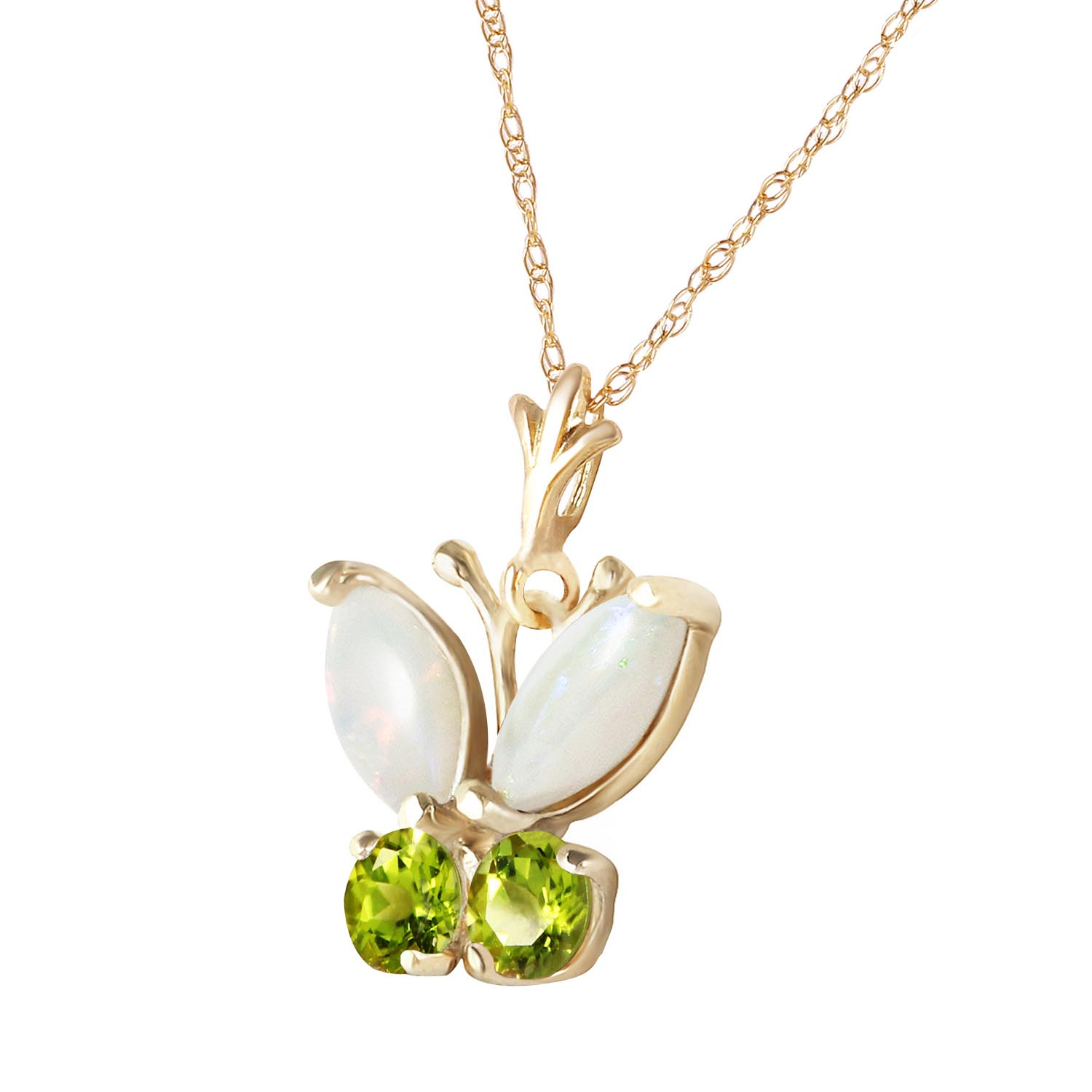 Opal and Peridot Butterfly Pendant Necklace 0.7ctw in 14K Gold