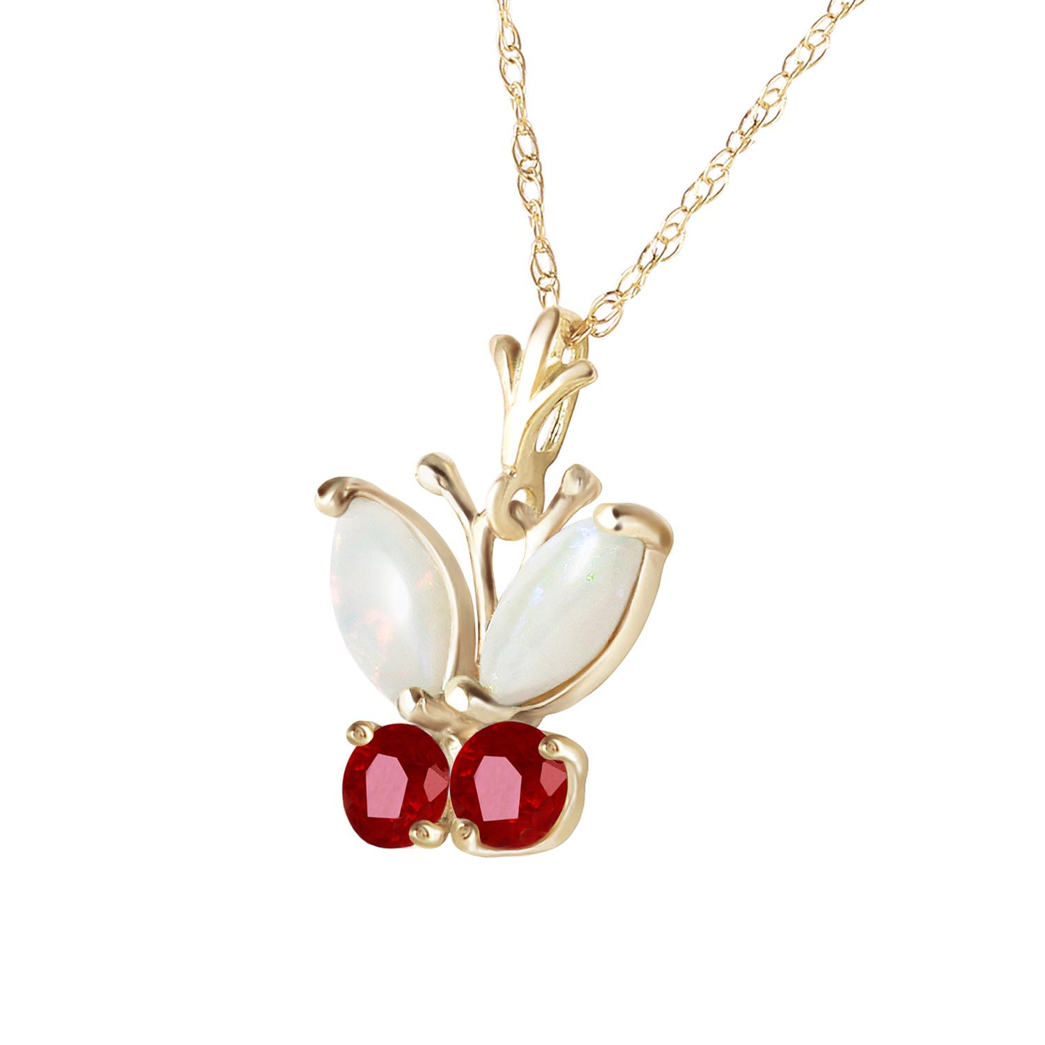 Opal and Ruby Butterfly Pendant Necklace 0.7ctw in 9ct Gold