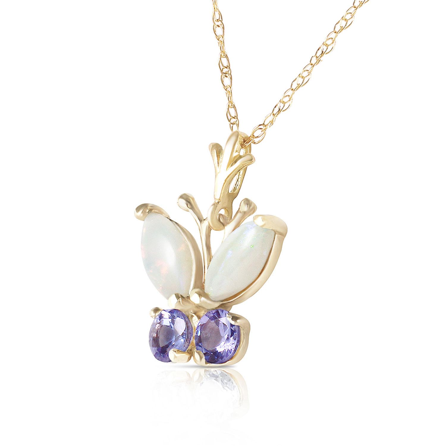 Opal and Tanzanite Butterfly Pendant Necklace 0.5ctw in 9ct Gold