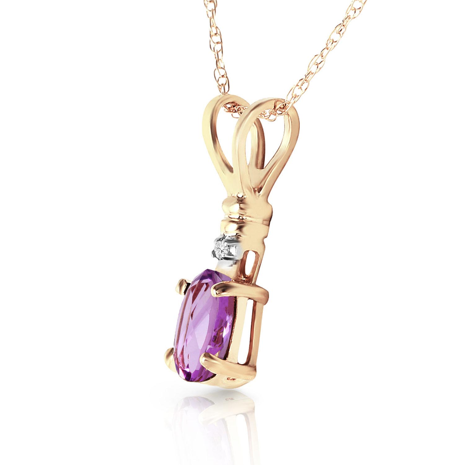 Amethyst and Diamond Pendant Necklace 0.45ct in 9ct Gold