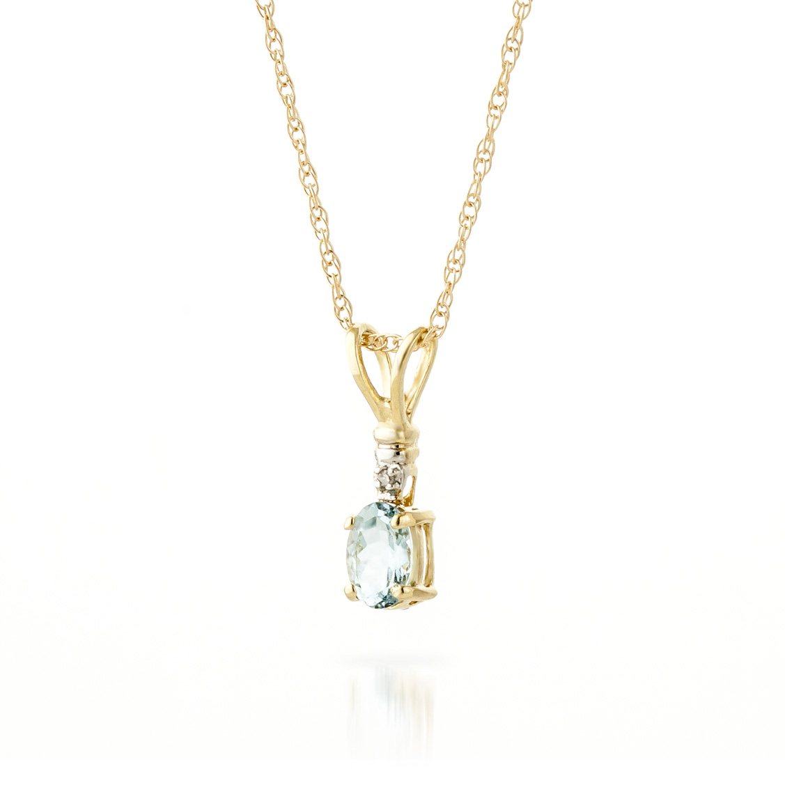 Aquamarine and Diamond Pendant Necklace 0.45ct in 9ct Gold