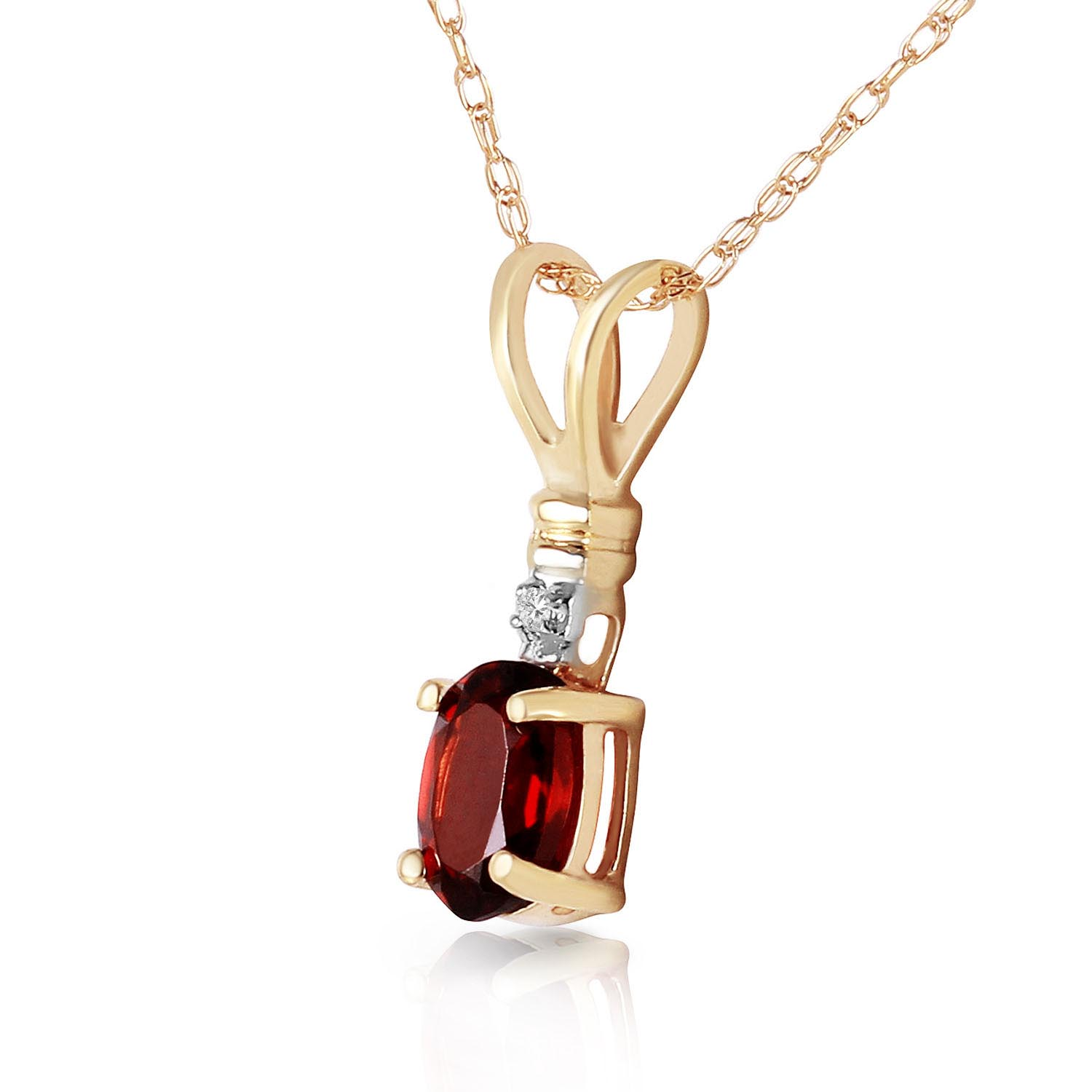 Garnet and Diamond Pendant Necklace 0.45ct in 14K Gold
