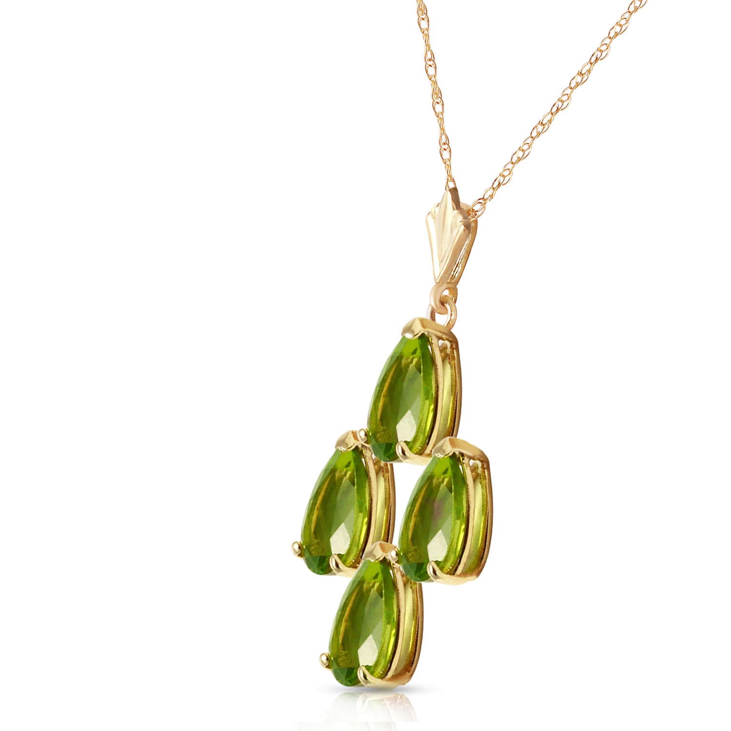 Pear Cut Peridot Pendant Necklace 2.25ctw in 9ct Gold