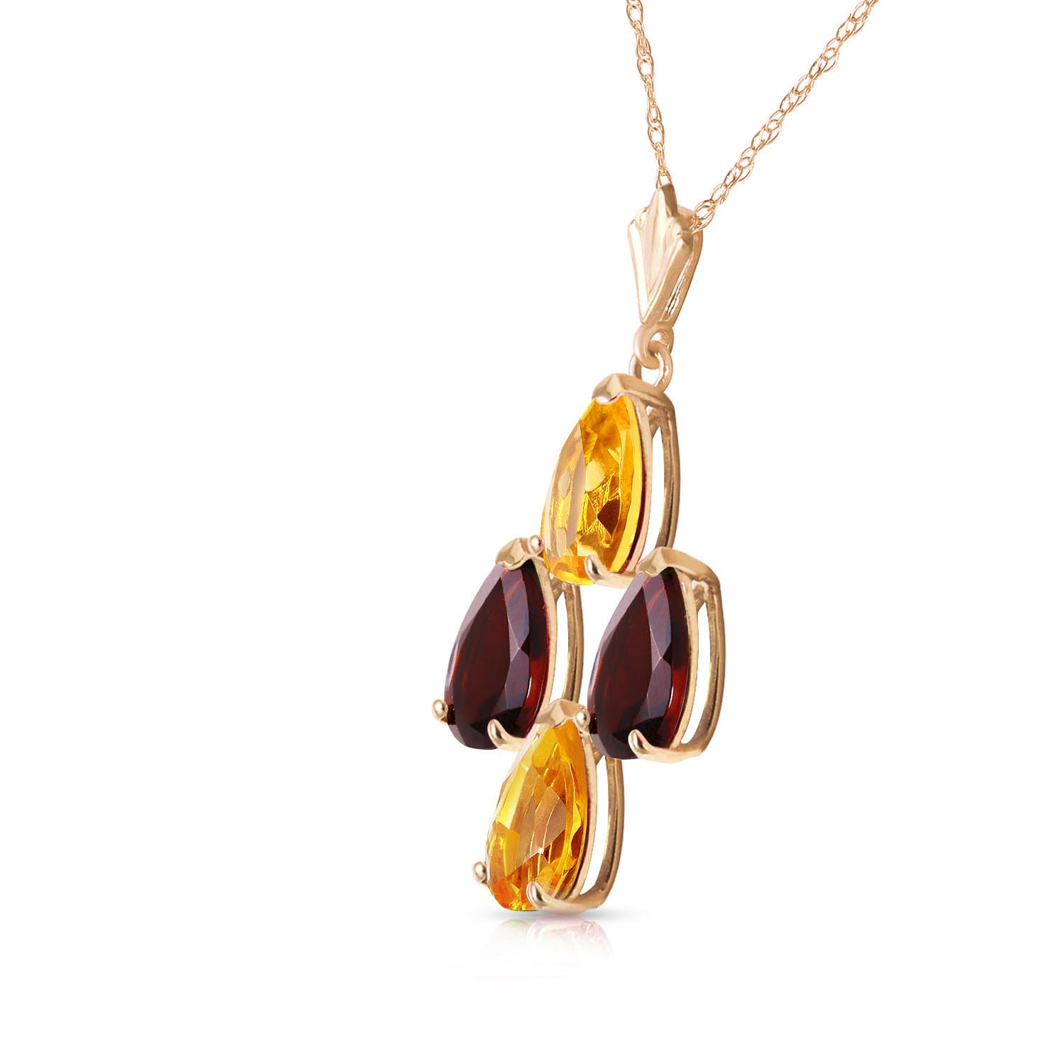 Citrine and Garnet Pendant Necklace 1.5ctw in 9ct Gold
