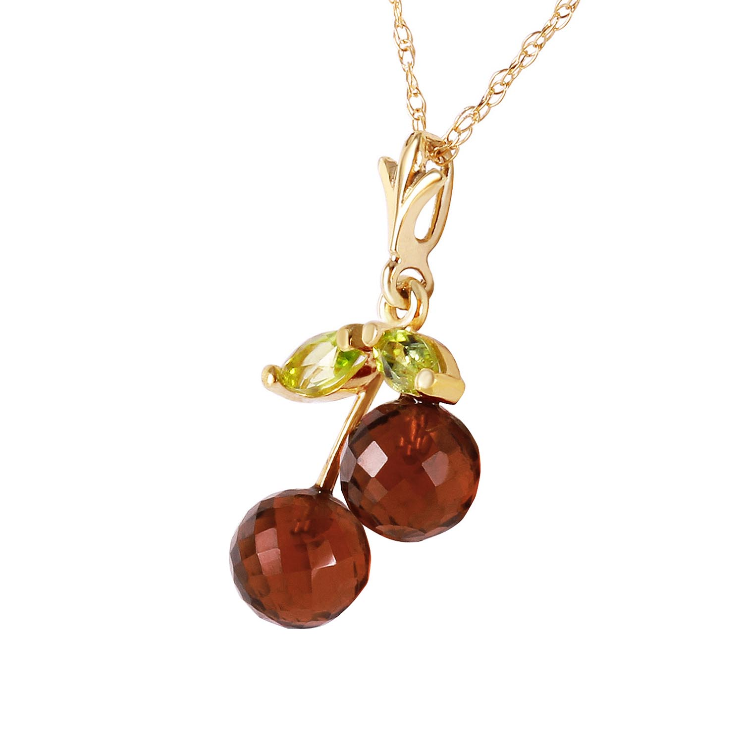 Garnet and Peridot Cherry Drop Pendant Necklace 1.45ctw in 9ct Gold